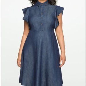 Eloquii Flutter Sleeve Fit & Flare Chambray Dress